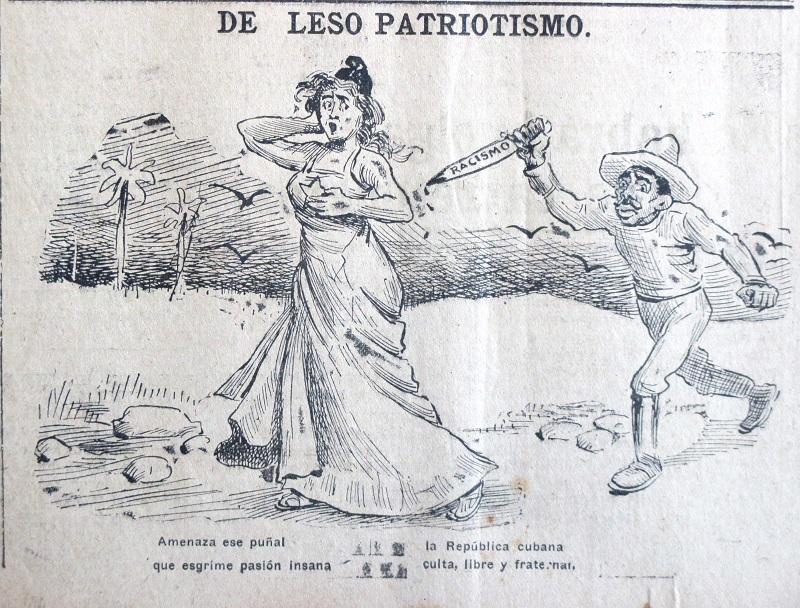 """La ilustración, de 1912, traduce las palabras antes citadas de José Miguel Gómez: """"Amenaza ese puñal/ que esgrime pasión insana/la República cubana, culta, libre y fraternal""""."""