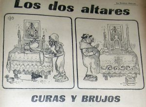 Caricatura sobre la religión en Cuba